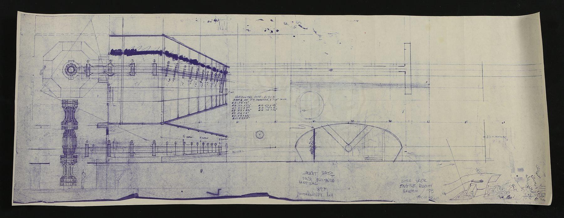 Star Trek The Motion Picture Uss Enterprise Ncc 1701 Engine Room Blueprint Diagram Lot 9