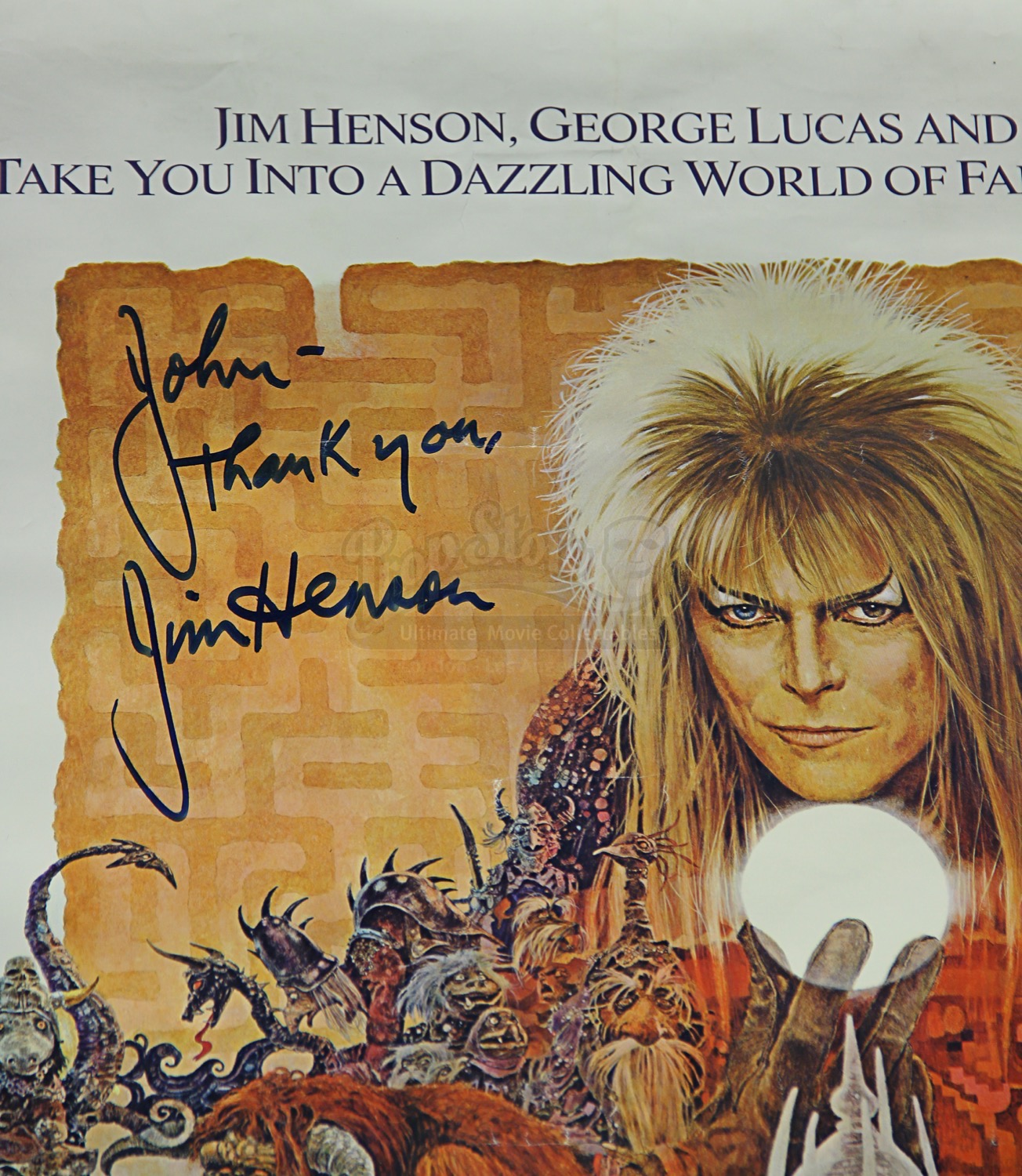 LABYRINTH (1986) - Jim Henson Autographed Poster - Current ... Labyrinth 1986 Poster