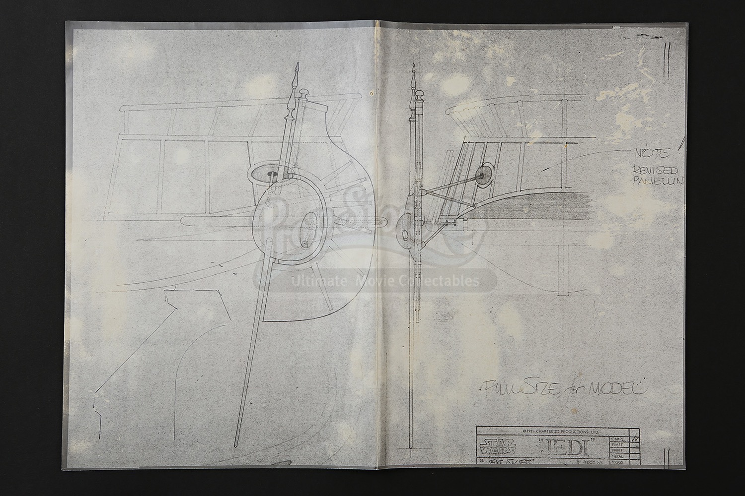 Star wars return of the jedi 1983 production used for Blueprint cost