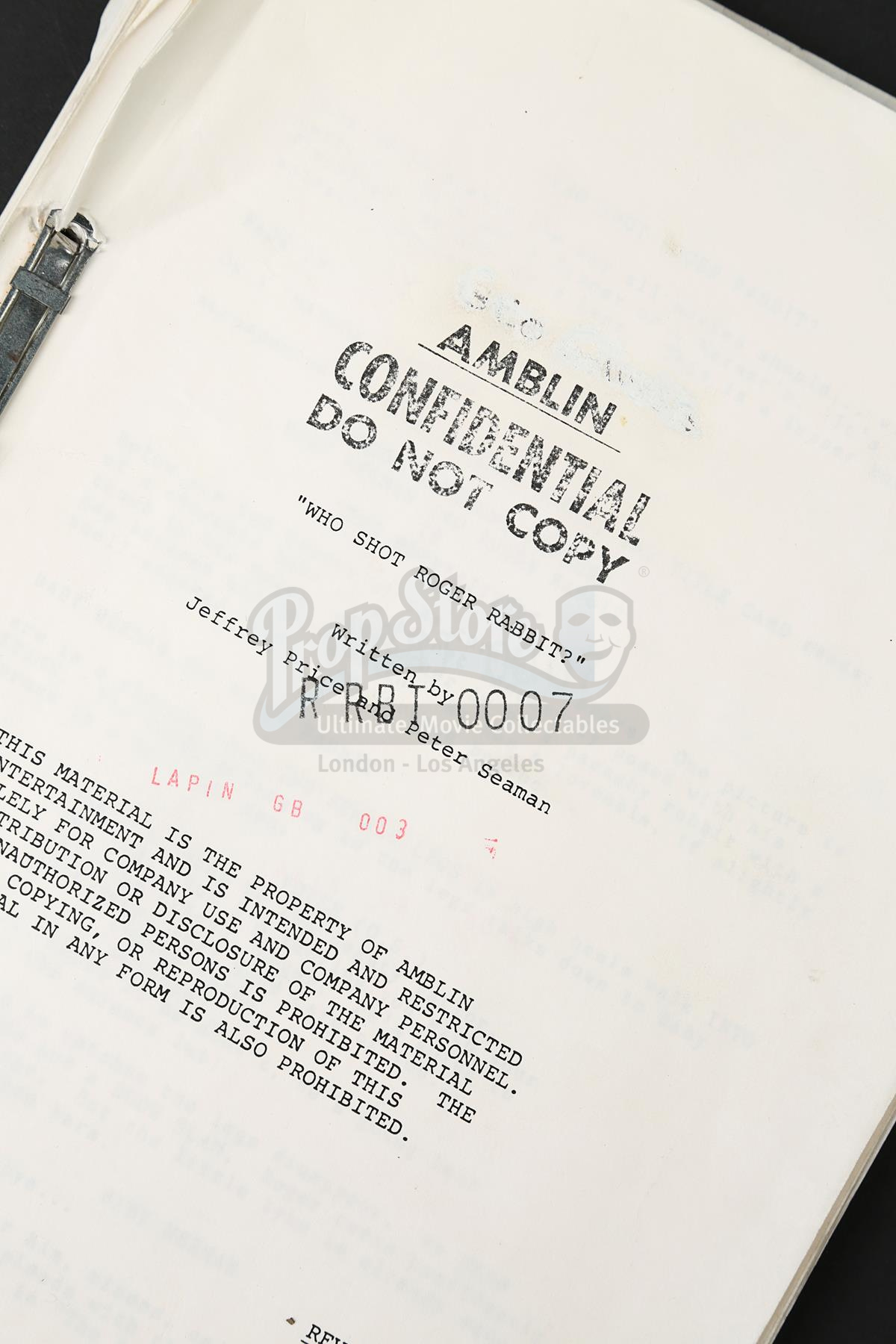 WHO FRAMED ROGER RABBIT (1988) - George Gibbs\' Revised First Draft ...