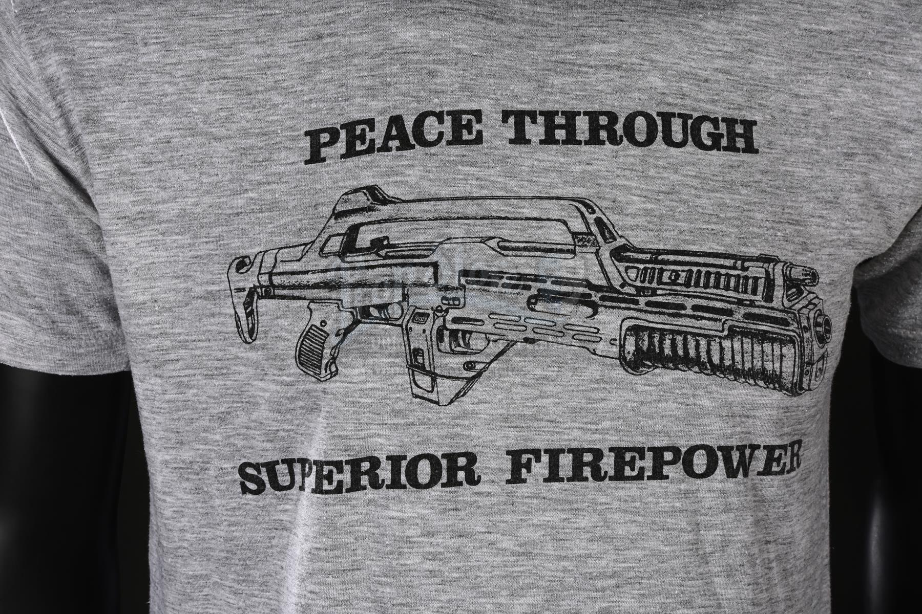 Peace Through Superior Fire Power Black Adult Mens T-Shirt