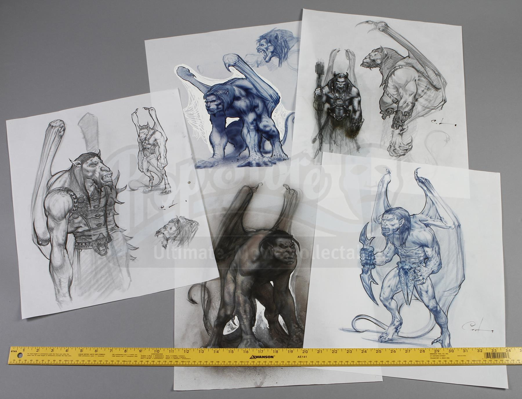 Character Design Price : Gargoyles hand drawn set of character design