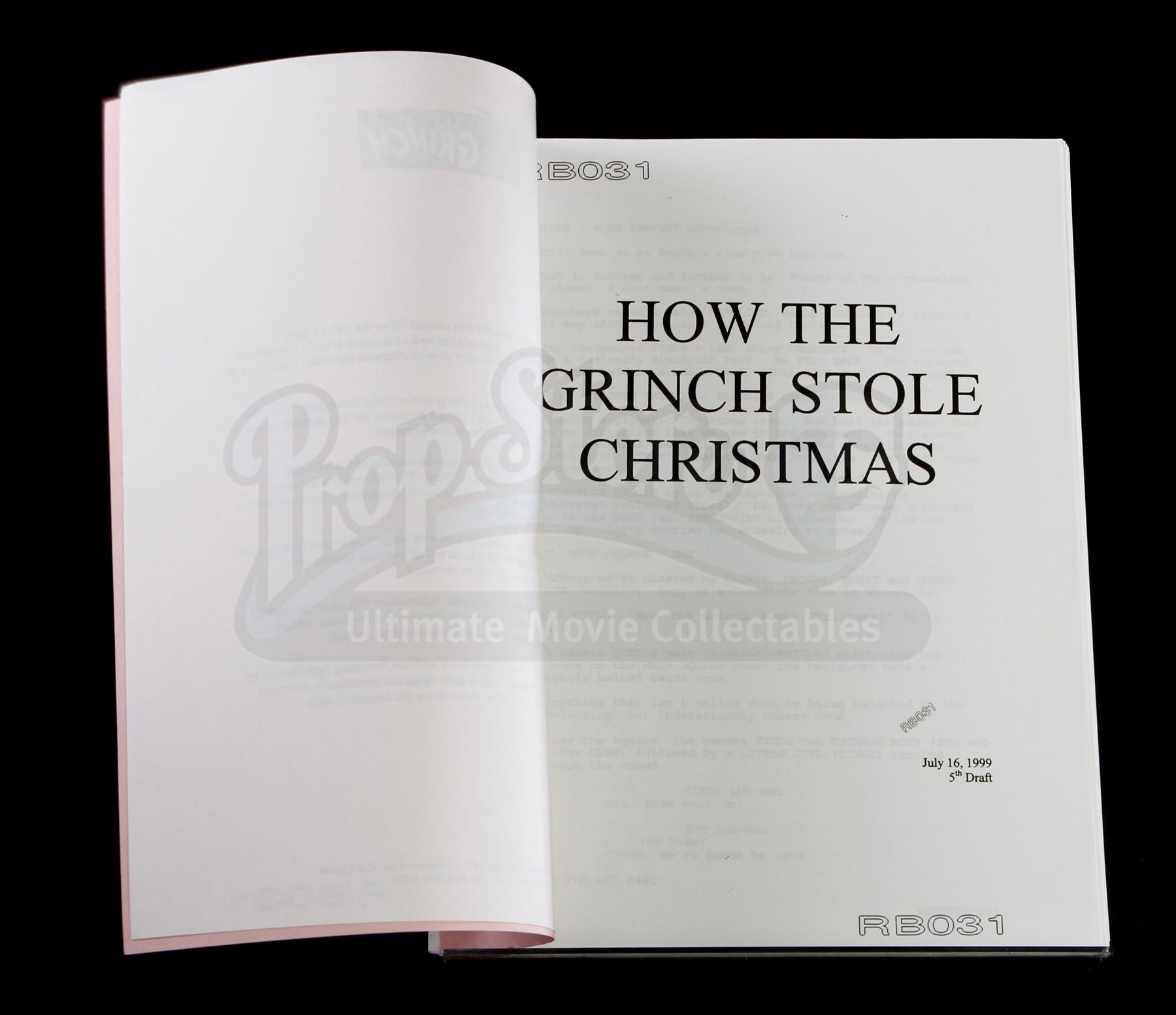 lot 250 fifth draft shooting script how the grinch stole christmas