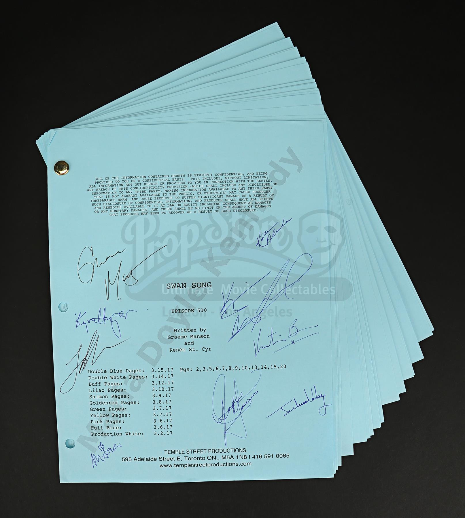 Maria Doyle Kennedy's Cast Autographed Production Script