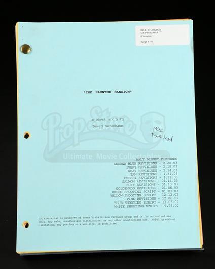 The Haunted Mansion 2003 Script Current Price 130