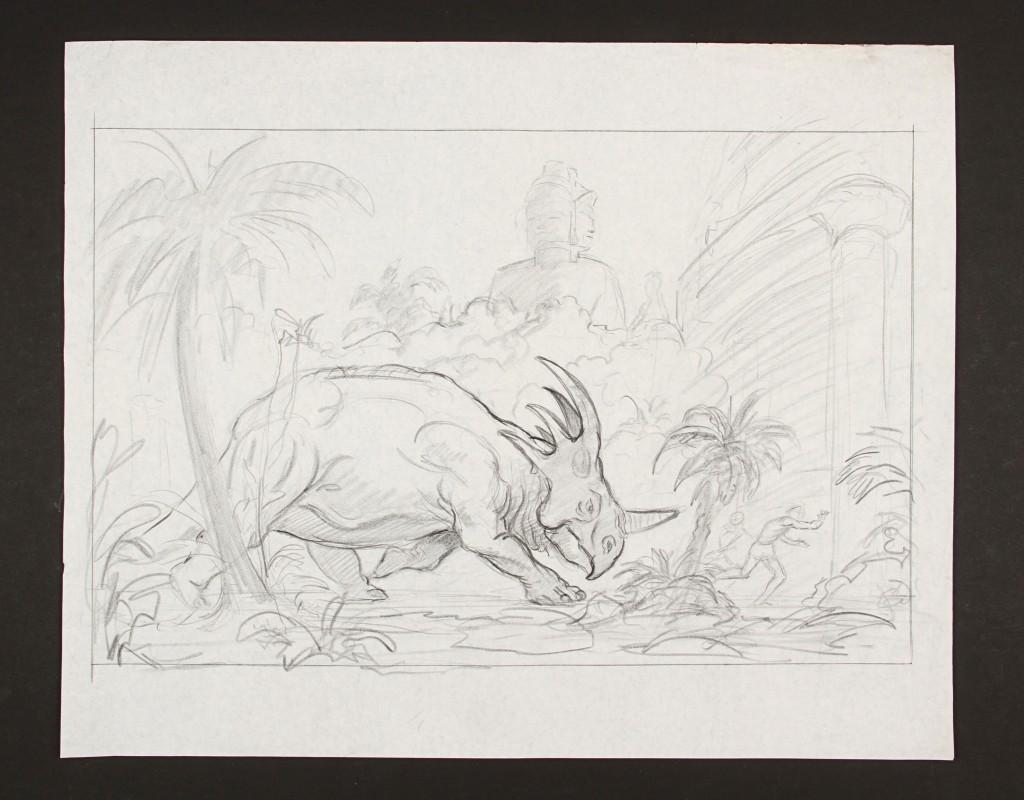 KingOfTheGeniis-RayHarryhausenHandDrawnConceptOfTheTriceratops1