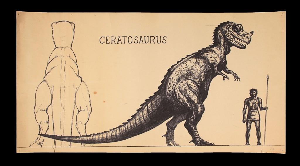 OneMillionYearsBC-RayHarryhausenConceptOfCeratosaurus1-(1)