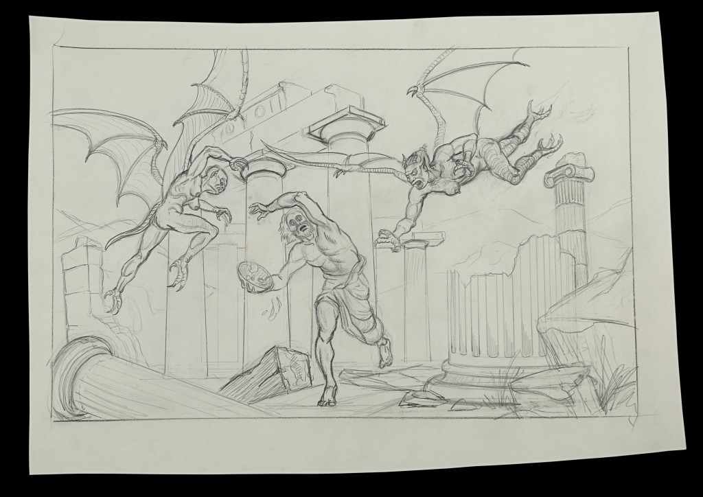 70982_Ray-Harryhausen-Hand-Drawn-Concept-of-Phineas-Patrick-Troughton-and-the-Temple-of-the-Harpies_1
