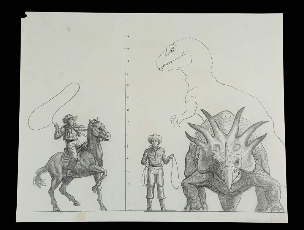 70990_Ray Harryhausen Hand-Drawn Concept of Styracosaurus and Cowboy Scale Comparison_1